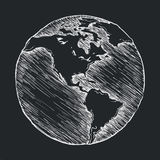 Hand drawing line icon. Globe outline drawing Stock Image