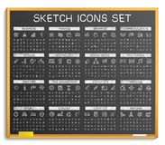 Hand drawing line icons. Vector doodle pictogram set, chalk sketch sign illustration on blackboard Stock Photos