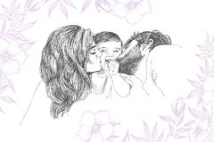 Vector Sketch of happy family Parents and children. Family. Hand drawing linear Sketch of mother and father with kid. Modern style. Detailed emotional Stock Photos