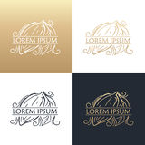 Hand drawing logo designes of cocoa beans. Stock Photography
