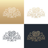 Hand drawing logo designes of cocoa beans. Royalty Free Stock Image