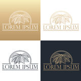 Hand drawing logo designes of cocoa beans. Royalty Free Stock Images