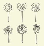 Hand drawing lollipops cartoon doodle Royalty Free Stock Photo