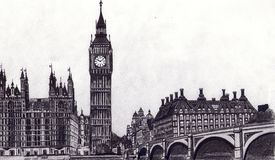 Hand drawing London. Hand draw London Big Ben and the parliament house Royalty Free Stock Image