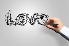 Hand drawing love Stock Image