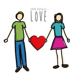 Hand drawing love Royalty Free Stock Image