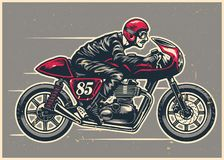 Hand drawing man riding a cafe racer. Vector of hand drawing man riding a cafe racer Royalty Free Stock Images