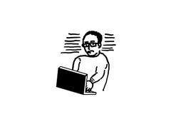 Hand drawing, man using laptop Royalty Free Stock Photos