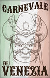 Hand Drawing of Man Wearing Volto Mask for Venice Carnival, Vector Illustration. Poster with hand drawn design of man face wearing a volto mask, tricorn hat Royalty Free Stock Photography