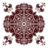 Hand drawing mandala element, silhouette in marsala color. Italian majolica style Stock Photos