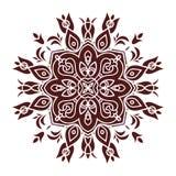 Hand drawing mandala element, silhouette in marsala color. Italian majolica style Royalty Free Stock Image