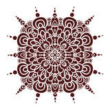Hand drawing mandala element, silhouette in marsala color. Italian majolica style Royalty Free Stock Photo