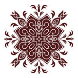 Hand drawing mandala element, silhouette in marsala color. Italian majolica style Stock Image