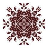 Hand drawing mandala element, silhouette in marsala color. Italian majolica style Stock Image