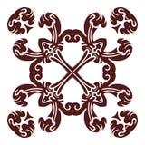 Hand drawing mandala element, silhouette in marsala color. Italian majolica style Stock Photo