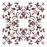 Hand drawing mandala element, silhouette in marsala color. Italian majolica style Stock Photography