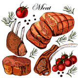 Hand drawing meat. Vector illustration Royalty Free Stock Photos