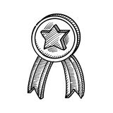 Hand drawing of a medal. With a star in the middle Royalty Free Stock Photography