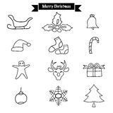 Hand drawing Merry Christmas doodle icon set Vector design chara Royalty Free Stock Images