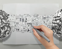Hand drawing metal brains 3d Royalty Free Stock Image