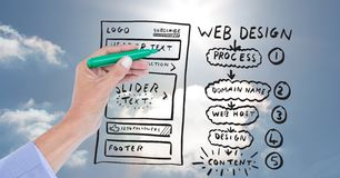 Hand drawing mock ups of websites on transparent screen Stock Images