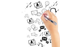 Hand drawing modern technology application Stock Photography