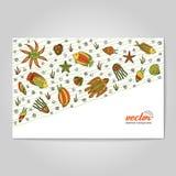 Hand drawing - mollusk, octopus, starfish. Stock Images