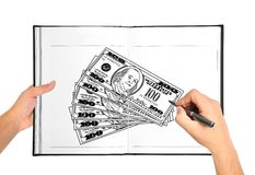 Hand drawing money Stock Image