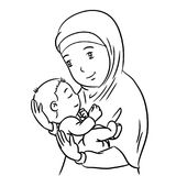 Hand drawing Mother and Son -Vector Illustration. Hand Drawing of a Muslim Mother with demonstration of affection for his son - Vector Illustration Royalty Free Stock Photos