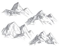 Hand drawing mountain peaks isolated retro etching sketch vector illustration. Sketch drawing peak line. engraving graphic landscape stock illustration
