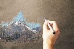 Hand drawing mountain scribble Stock Image