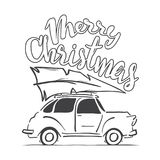 Hand-drawing moving retro car with Christmas tree on the roof isolated on white background. Merry Christmas. Vector illustration: Hand-drawing moving retro car Stock Photo