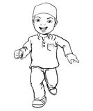 Hand drawing of Muslim Boy make running -Vector Illustration. Hand drawing Happy Muslim boy make running. Brown trousers, yellow shirt. Flat cartoon style. Line royalty free illustration
