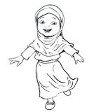 Hand drawing of Muslim Girl make running -Vector Illustration. Hand drawing Happy Muslim girl make running. Pink dress and violet Hijab. Flat cartoon style. line vector illustration