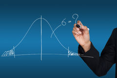 Hand drawing a normal curve. Statistical royalty free stock image