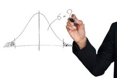 Hand drawing a normal curve statistical. Isolate on white background Stock Photos