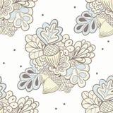 Hand drawing oak elements seamless pattern Stock Photo