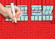 hand drawing office lines. Red wall of bricks with windows Royalty Free Stock Images