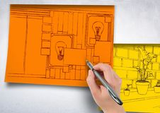 Hand drawing office red lines on orange paper stick on the wall. 1 blueprint more in yellow papers, Royalty Free Stock Photo