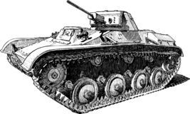 A hand drawing of an old battle tank vector illustration