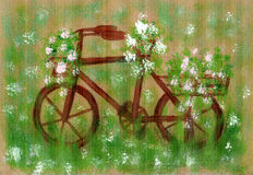 Hand drawing of an old bike. Rusty, overgrown with grass Royalty Free Stock Images