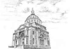 Hand drawing old city church Royalty Free Stock Images