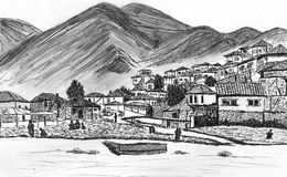 Hand drawing old city. Hand draw old city with river Royalty Free Stock Image