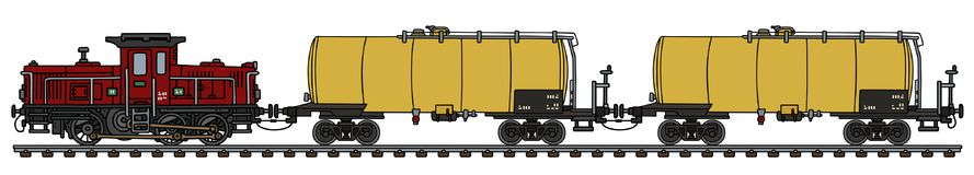 Classic diesel tank train. Hand drawing of an old dark red diesel shunting locomotive and two yellow tank wagons Royalty Free Stock Photos