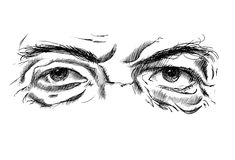 Hand drawing old man's eyes with glasses Royalty Free Stock Image