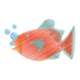 Hand drawing orange fish marine ecosystem life bubbles. Illustration eps 10 Stock Images