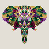 Hand-drawing ornamental abstract elephant background Stock Photo
