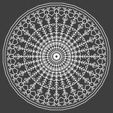 Hand-drawing ornamental ethnic lace white round. Handmade abstract pattern Royalty Free Stock Photography