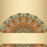 Hand-drawing ornamental floral abstract lace round isolated on soft gold gradient colored background Stock Photo