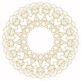 Hand-drawing ornamental lace background with hearts for use in design for valentines day or wedding card Royalty Free Stock Photos